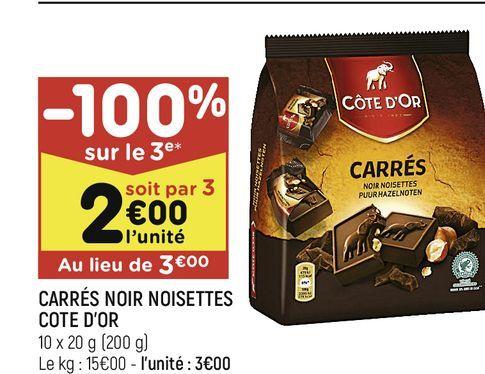 Carres noir noisettes cote d´or offre à 3€