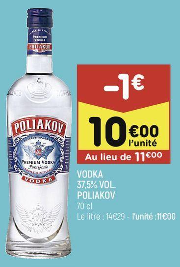 Vodka 37.5% Vol. Poliakov offre à 10€