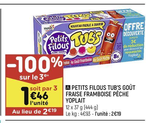 Petits filous tub´s gout fraise framboise peche Yoplait offre à 2,19€