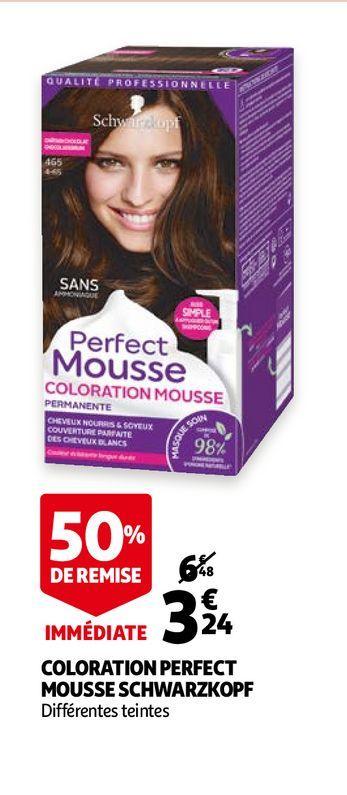 Coloration perfect mousse schwarzkopf offre à 3,24€